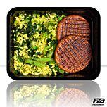 Gele rijst - Kipburger - Groene groentemix (met kruiden) - BULK