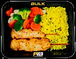 Gele rijst - Gebakken kipfilet spiesjes - Broccolimix (met kruiden) [BULK]