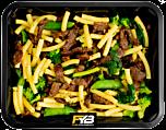 Macaroni - Runderreepjes Teriyaki - Groene groentemix (met kruiden) - BULK