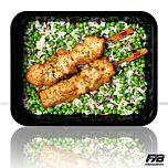 Wilde rijst - Gebakken kipfilet spiesjes - Tuinerwten (met kruiden) - BULK