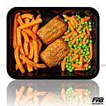 Zoete aardappelfrietjes - Kipvink - Tuinerwten & Worteltjes (met kruiden) - BULK